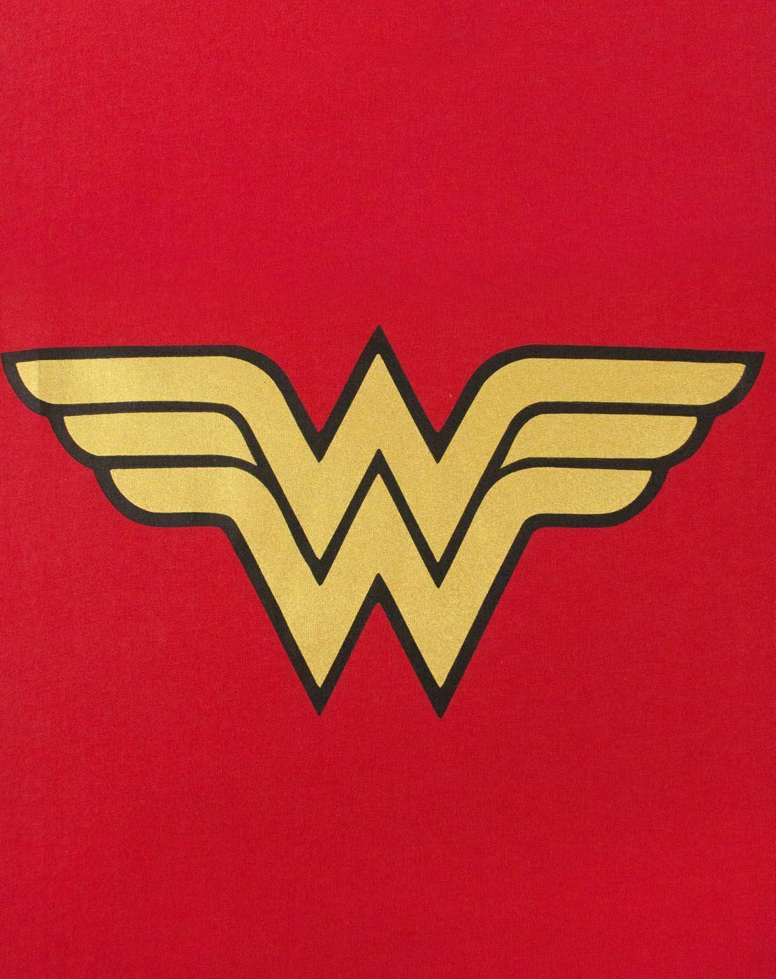 Wonder-Woman-DC-Comics-Metallic-Gold-Logo-Women-039-s-Red-Superhero-T-Shirt thumbnail 11