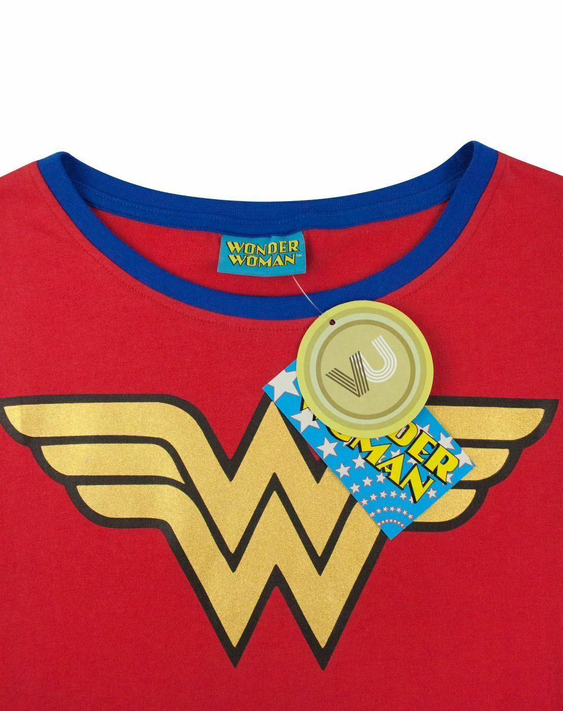 Wonder-Woman-DC-Comics-Metallic-Gold-Logo-Women-039-s-Red-Superhero-T-Shirt thumbnail 13