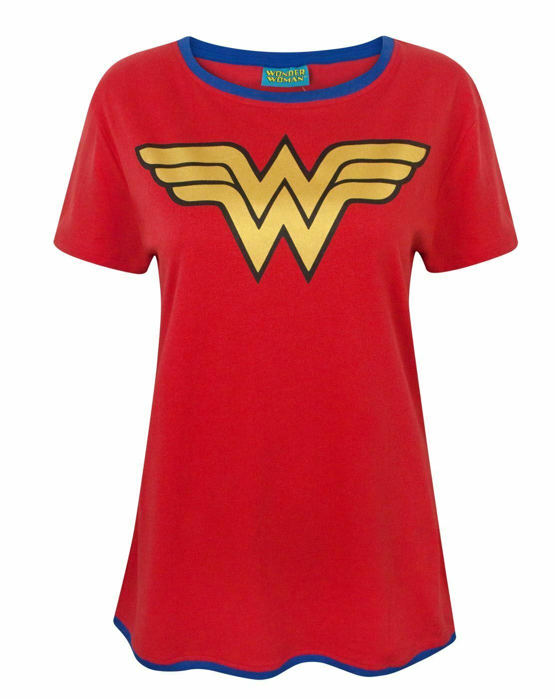 Wonder-Woman-DC-Comics-Metallic-Gold-Logo-Women-039-s-Red-Superhero-T-Shirt thumbnail 10