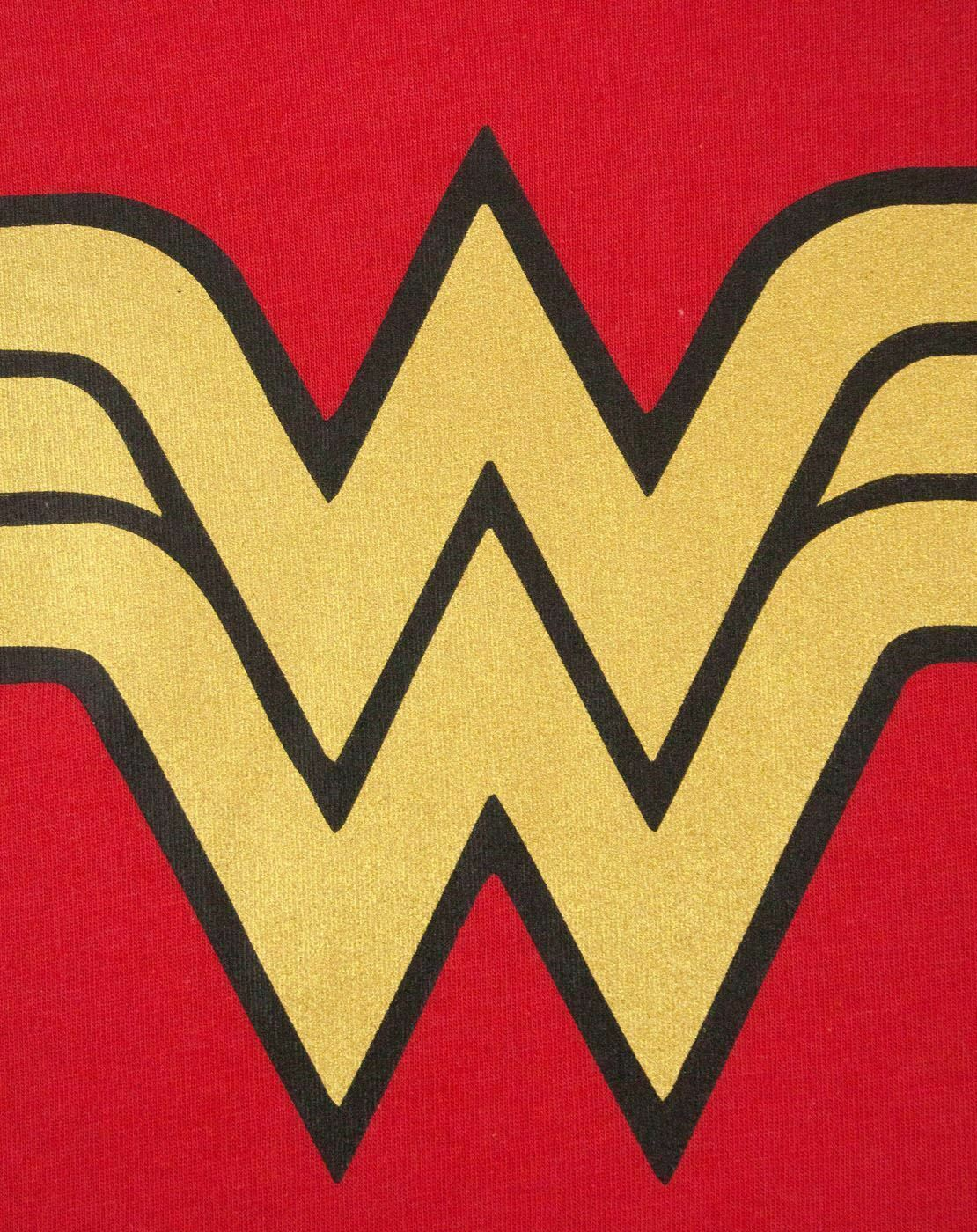 Wonder-Woman-DC-Comics-Metallic-Gold-Logo-Women-039-s-Red-Superhero-T-Shirt thumbnail 12