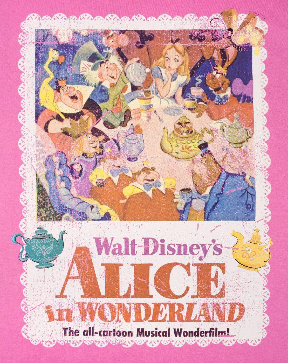 Alice-In-Wonderland-Poster-Women-039-s-T-Shirt thumbnail 6