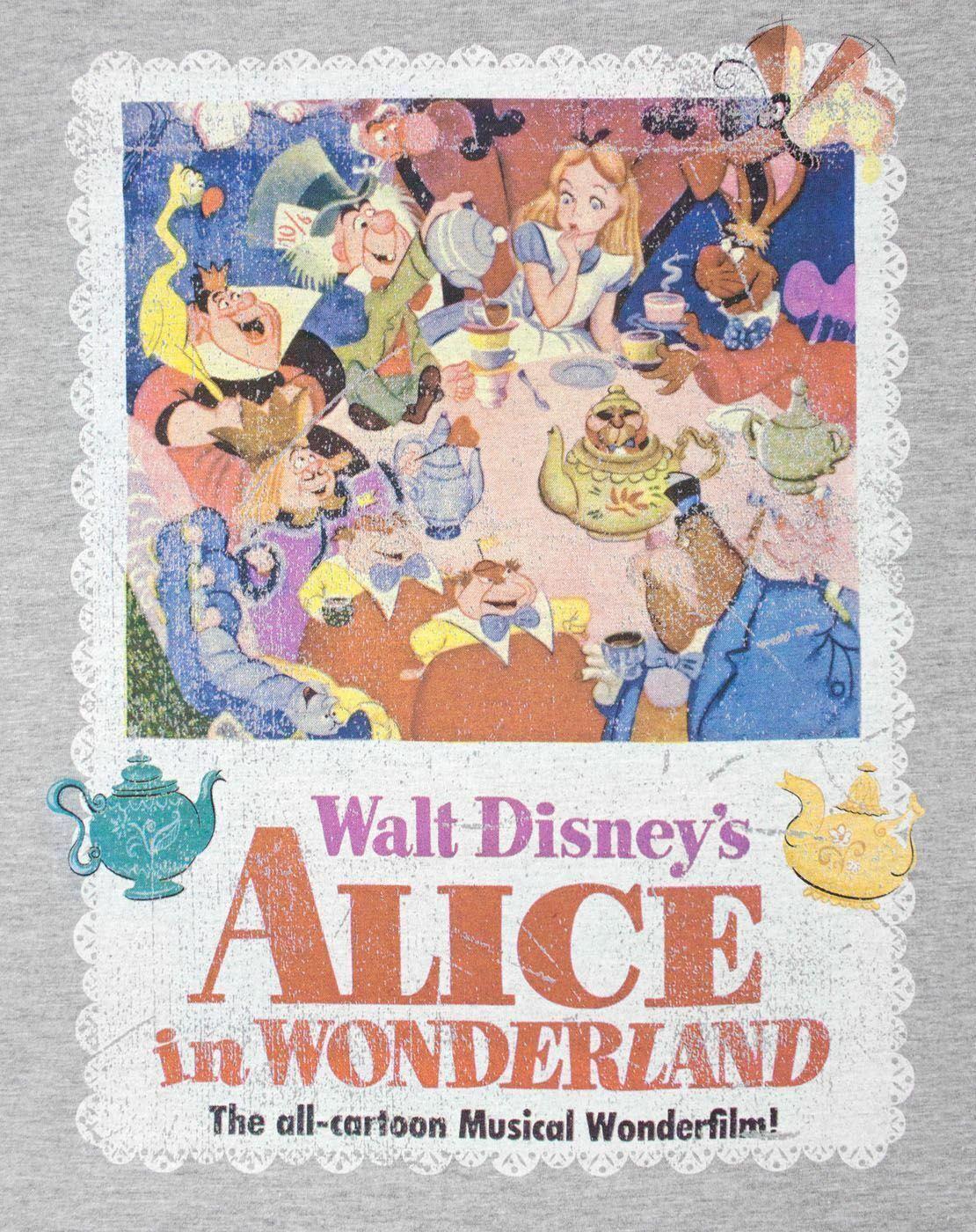 thumbnail 7 - Alice-In-Wonderland-Poster-Grey-Women-039-s-T-Shirt