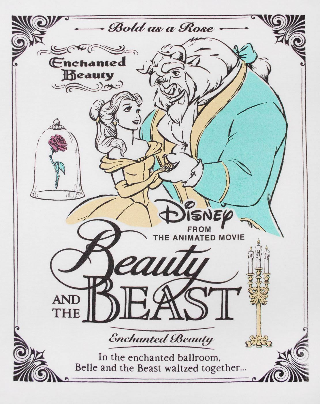 Disney-Beauty-And-The-Beast-Poster-Women-039-s-T-Shirt thumbnail 6