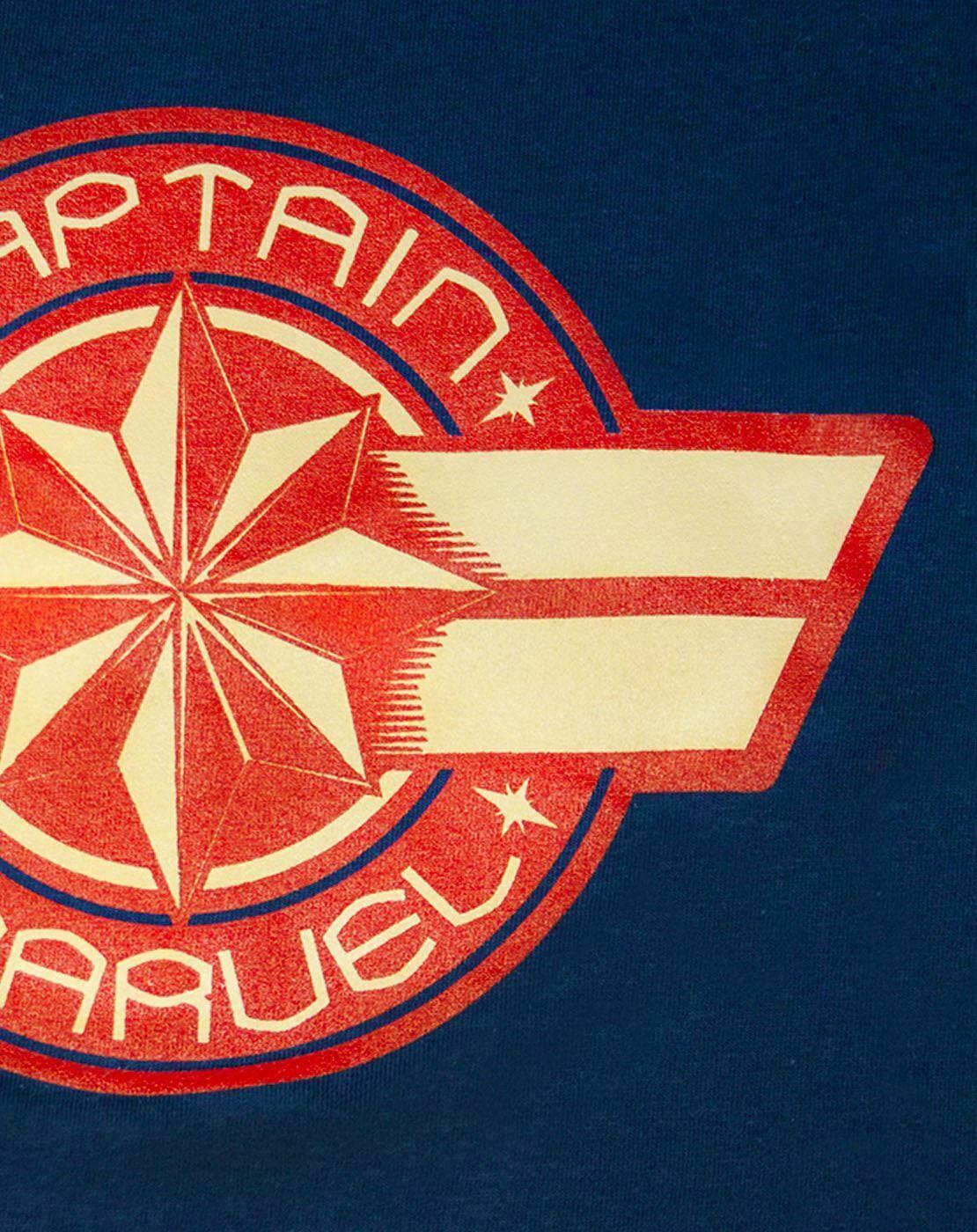 Marvel-Captain-Marvel-Logo-Women-039-s-Navy-Short-Sleeve-T-Shirt thumbnail 9