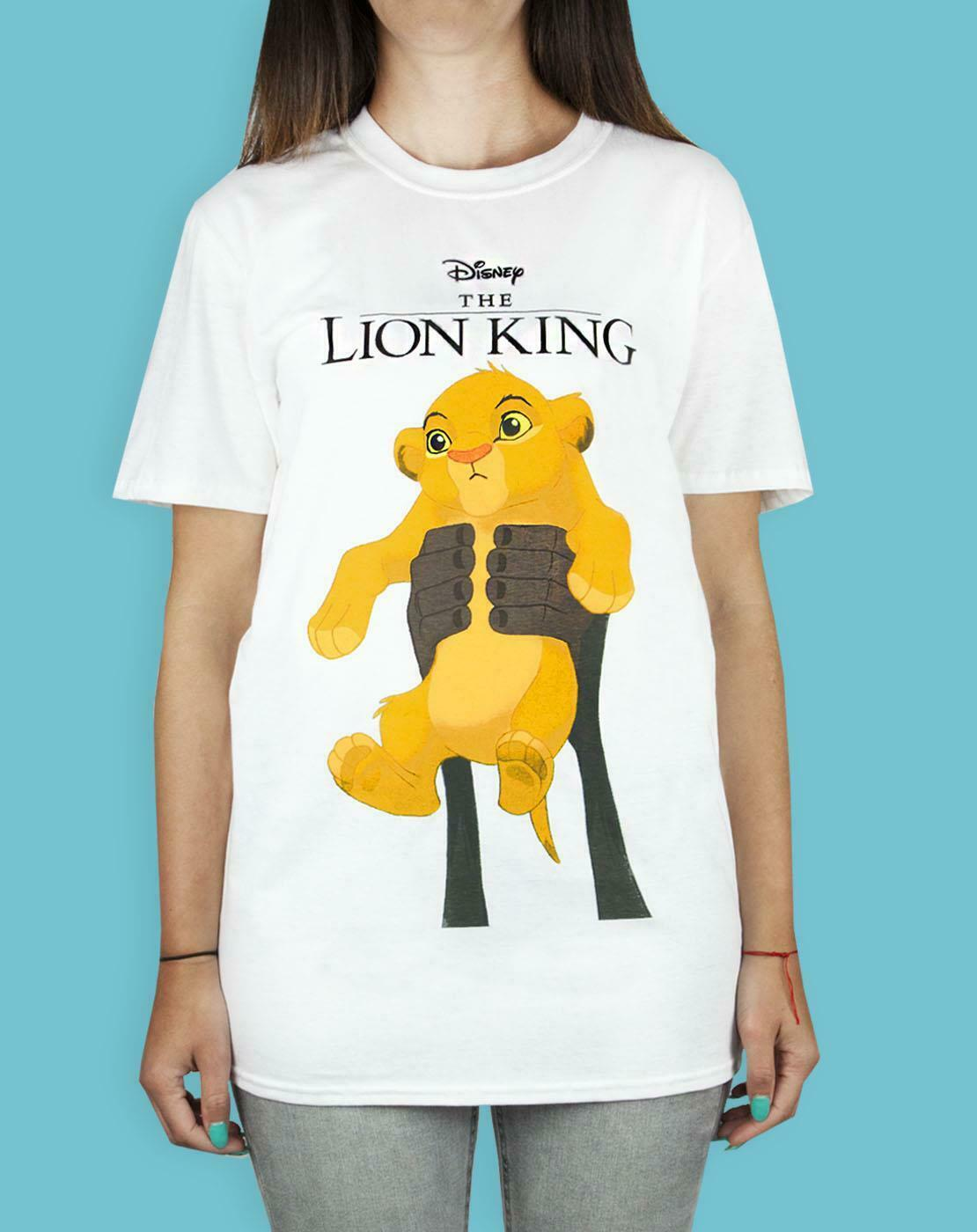 thumbnail 8 - Disney-Lion-King-Simba-Cub-Circle-Of-Life-Women-039-s-Boyfriend-Fit-White-T-Shirt