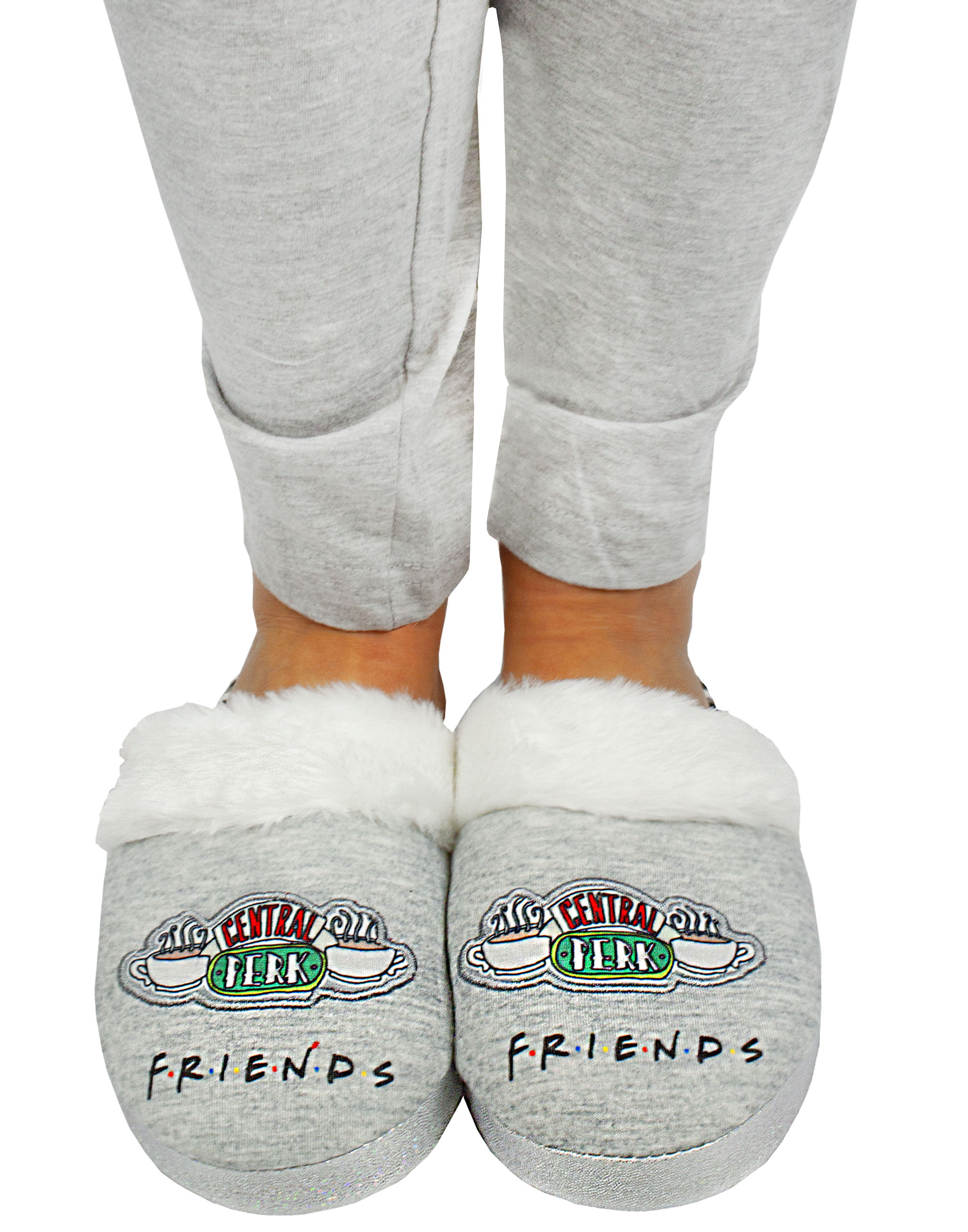 PRIMARK LADIES FRIENDS CENTRAL PERK FLUFFY GREY SLIPPERS Brand New With Tags
