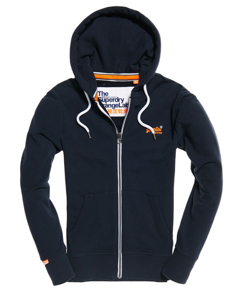 Mens-Superdry-Orange-Label-Lite-Zip-Hoodie-Three-Pointer-Navy thumbnail 12