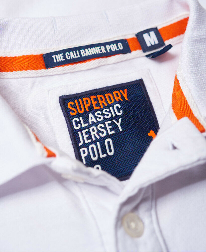 Mens-Superdry-Classic-Cali-Banner-Polo-Shirt-Optic-White thumbnail 14
