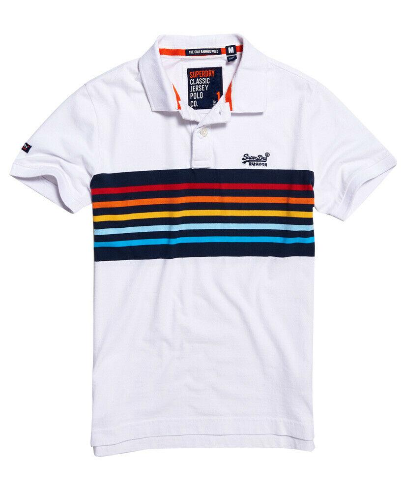 Mens-Superdry-Classic-Cali-Banner-Polo-Shirt-Optic-White thumbnail 32