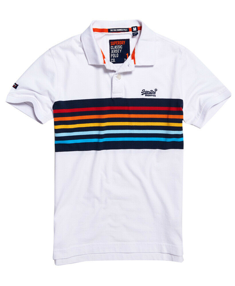 Mens-Superdry-Classic-Cali-Banner-Polo-Shirt-Optic-White thumbnail 56