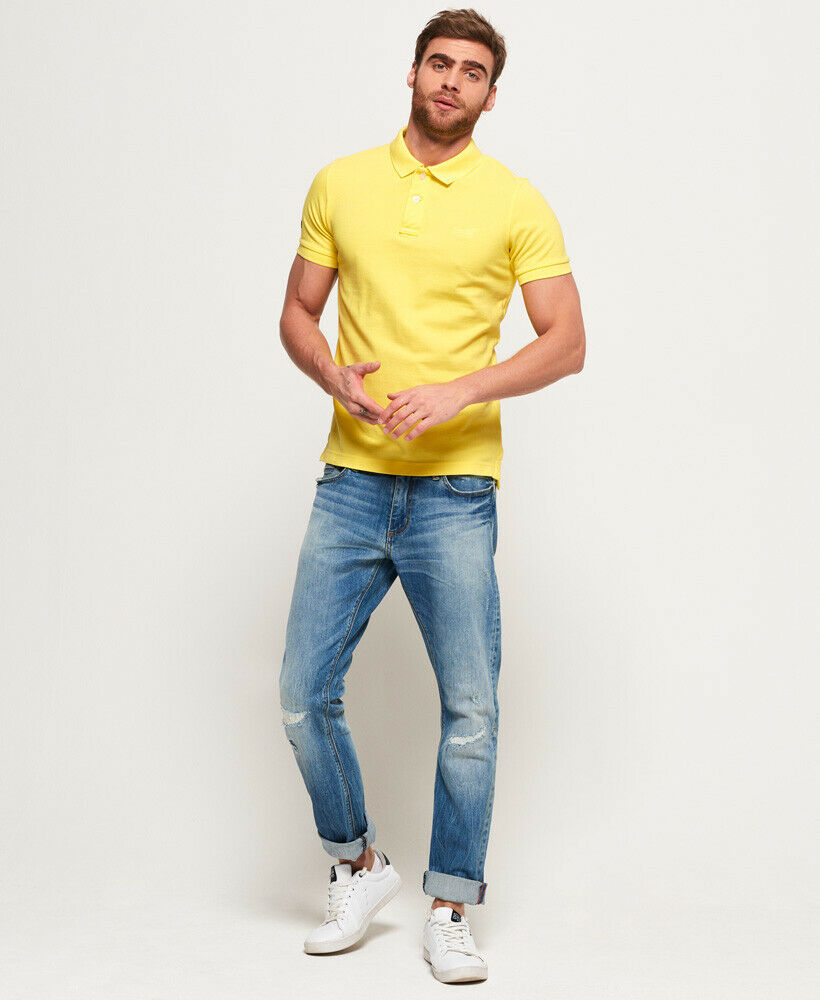 Mens-Superdry-Vintage-Destroyed-Pique-Polo-Shirt-Chello-Yellow thumbnail 13