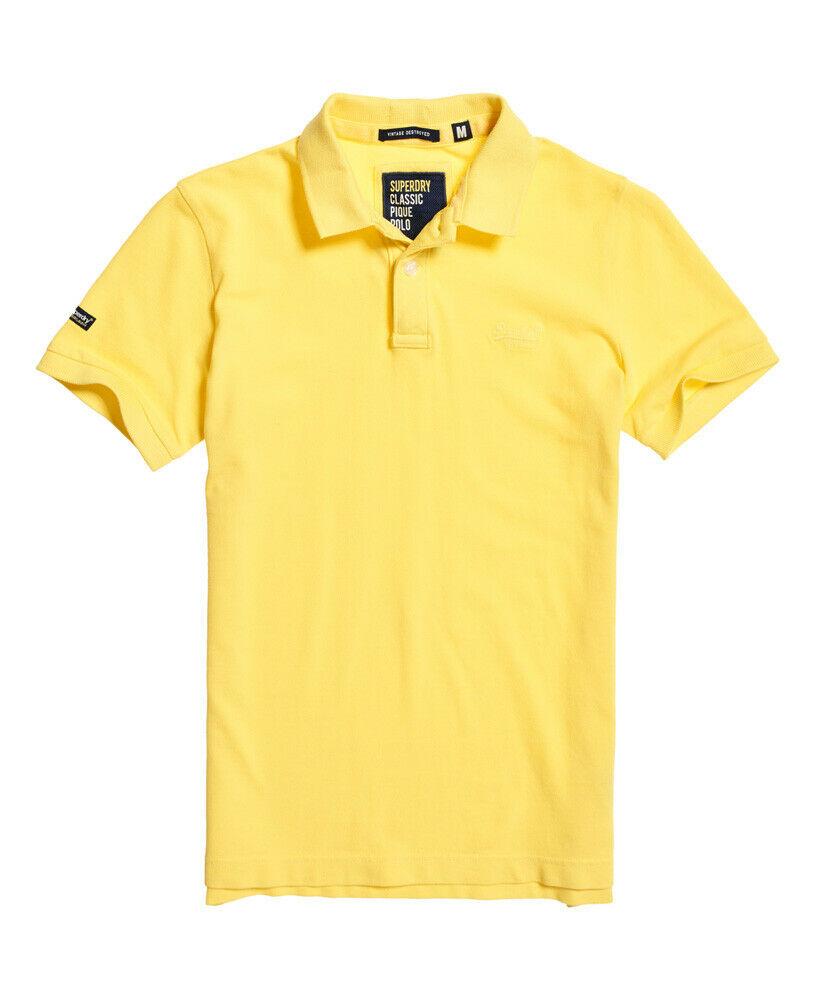Mens-Superdry-Vintage-Destroyed-Pique-Polo-Shirt-Chello-Yellow thumbnail 14