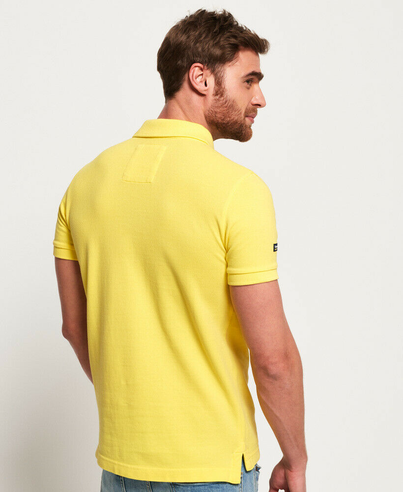 Mens-Superdry-Vintage-Destroyed-Pique-Polo-Shirt-Chello-Yellow thumbnail 12