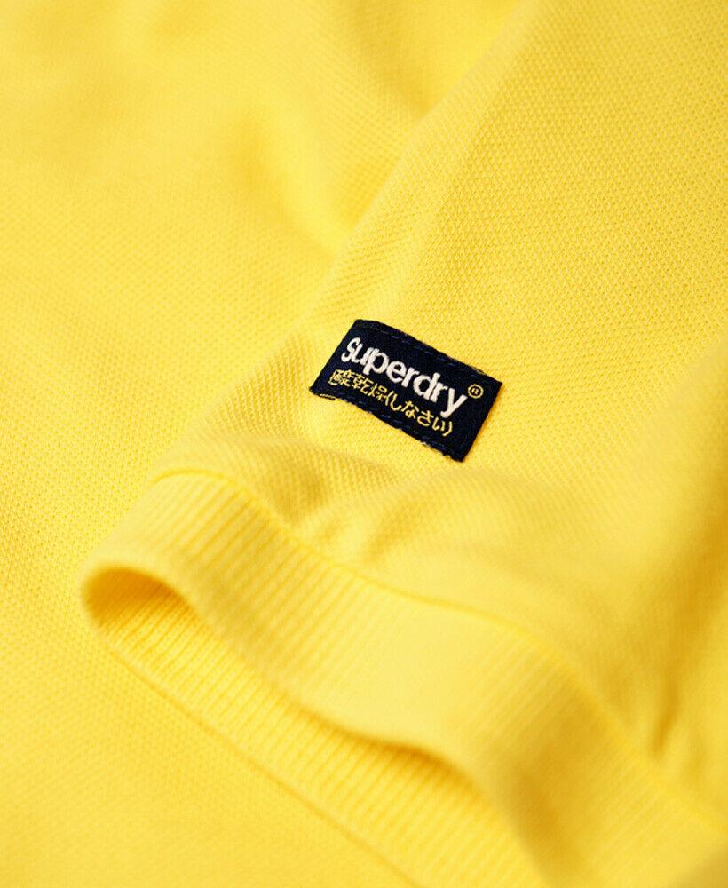 Mens-Superdry-Vintage-Destroyed-Pique-Polo-Shirt-Chello-Yellow thumbnail 11