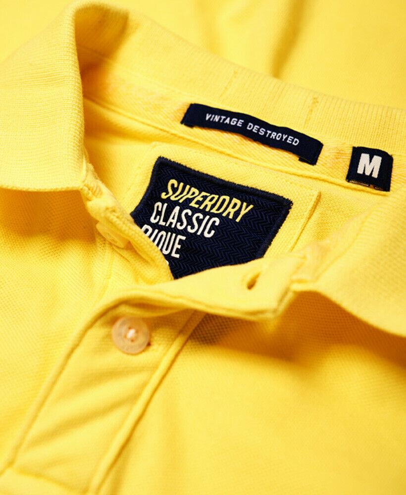 Mens-Superdry-Vintage-Destroyed-Pique-Polo-Shirt-Chello-Yellow thumbnail 16
