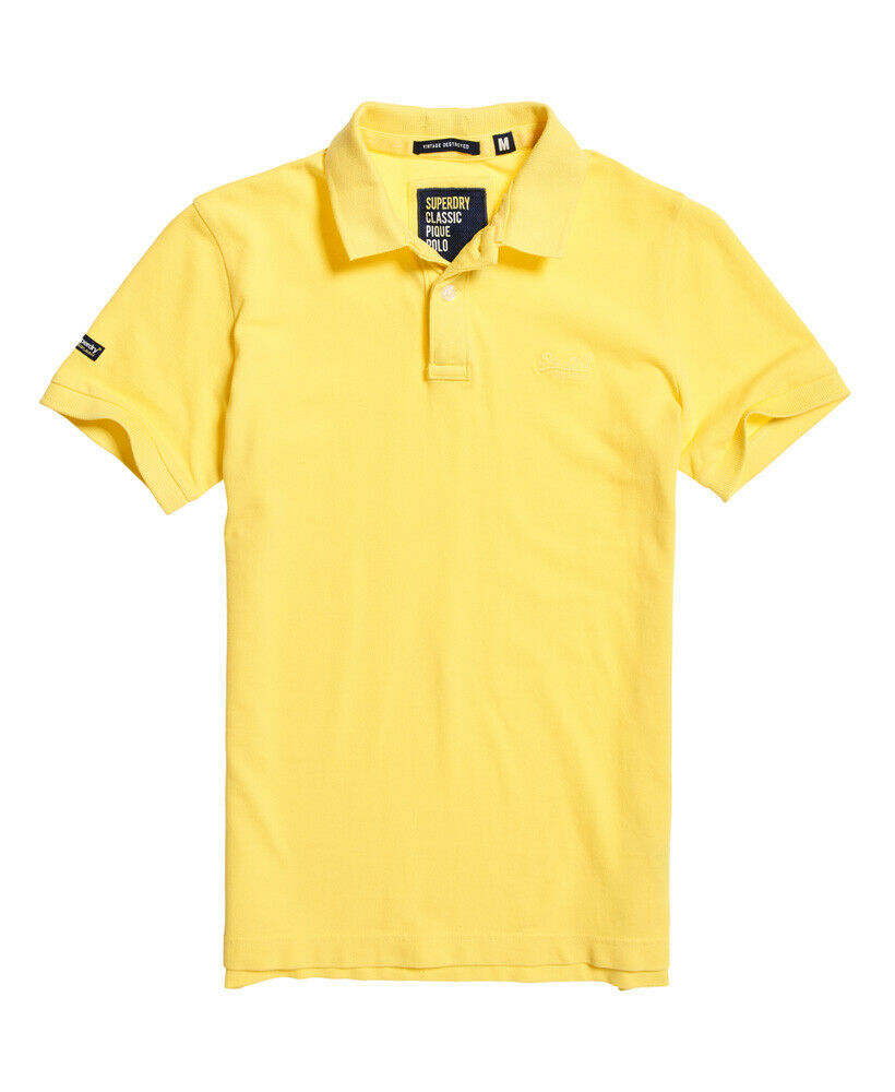 Mens-Superdry-Vintage-Destroyed-Pique-Polo-Shirt-Chello-Yellow thumbnail 28