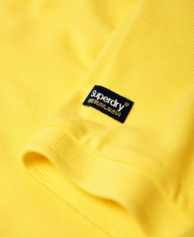 Mens-Superdry-Vintage-Destroyed-Pique-Polo-Shirt-Chello-Yellow thumbnail 46