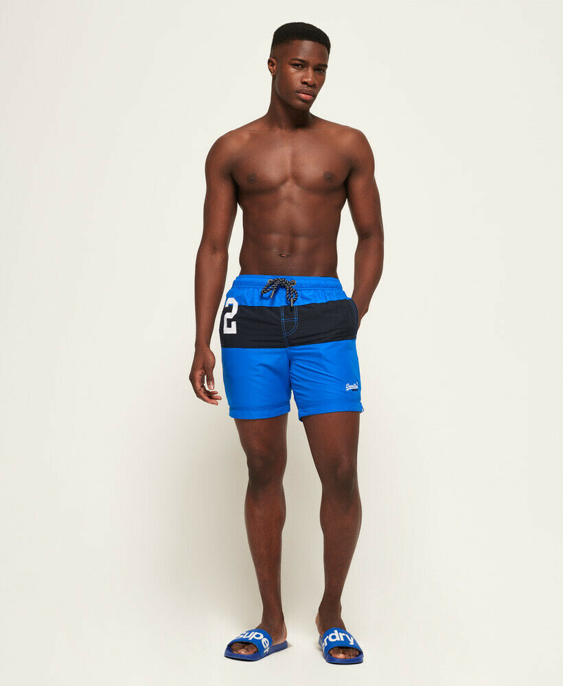 Mens-Superdry-Water-Polo-Banner-Swim-Shorts-Deck-Blue thumbnail 39