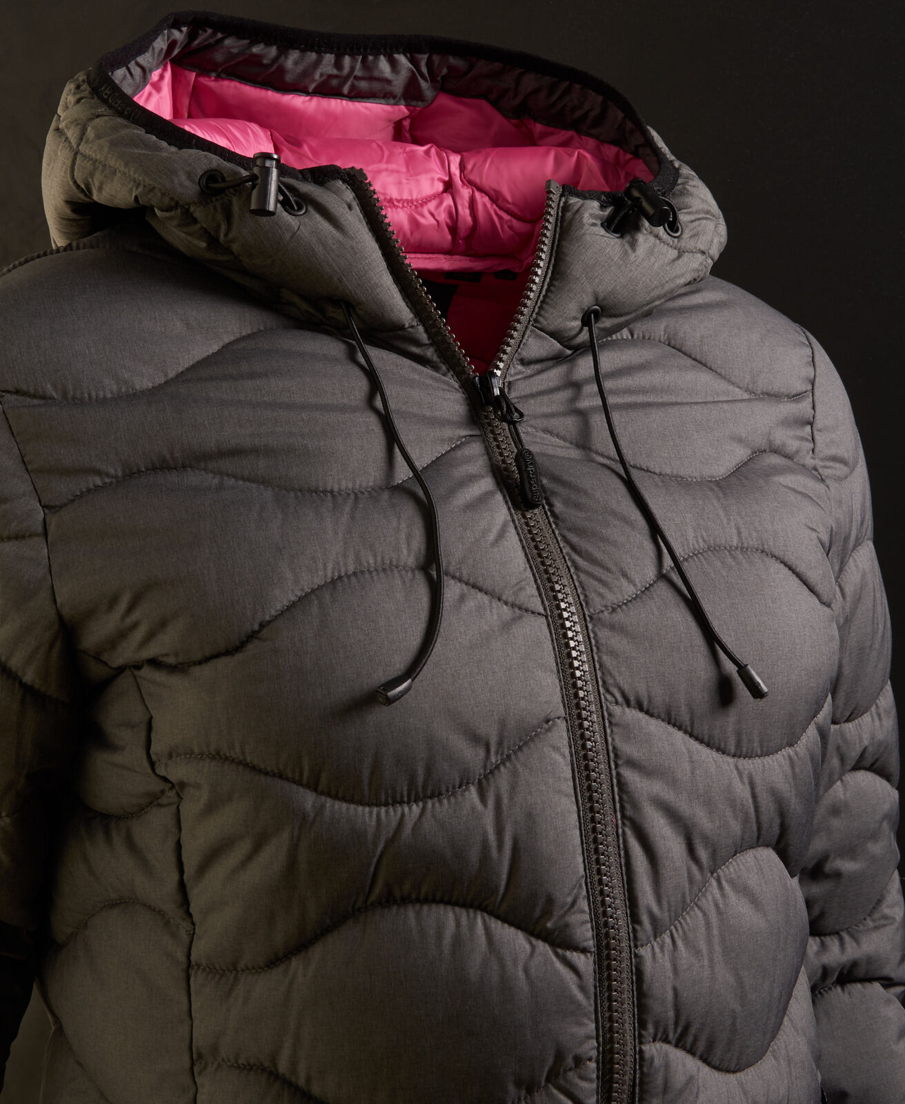Womens-Superdry-Astrae-Quilt-Padded-Jacket-Dark-Grey thumbnail 8