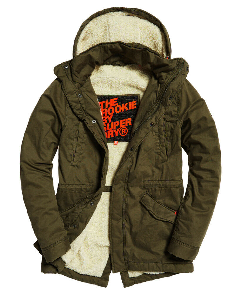 Details about New Mens Superdry Rookie Military Parka Jacket Deepest Army