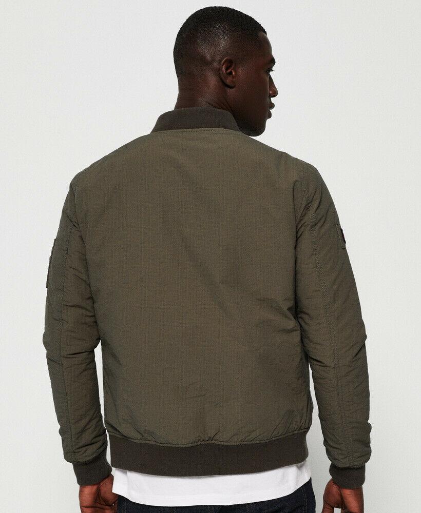 Superdry Men/'s Falcon Khaki Green Rookie Air Corps Bomber Full Zip Jacket