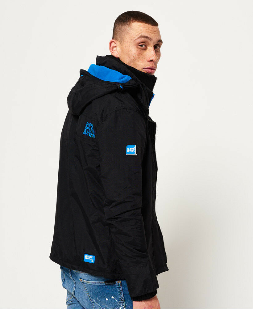 New-Mens-Superdry-Pop-Zip-Hooded-Arctic-SD-Windcheater-Black-Denby-Blue thumbnail 18