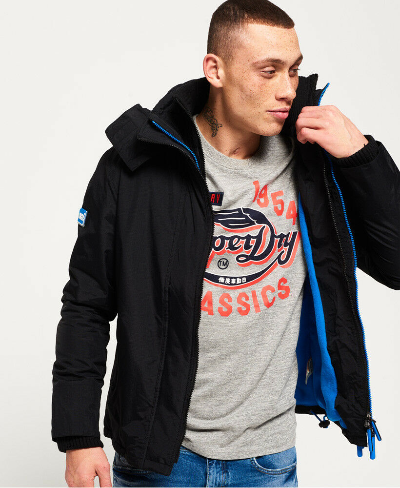New-Mens-Superdry-Pop-Zip-Hooded-Arctic-SD-Windcheater-Black-Denby-Blue thumbnail 16