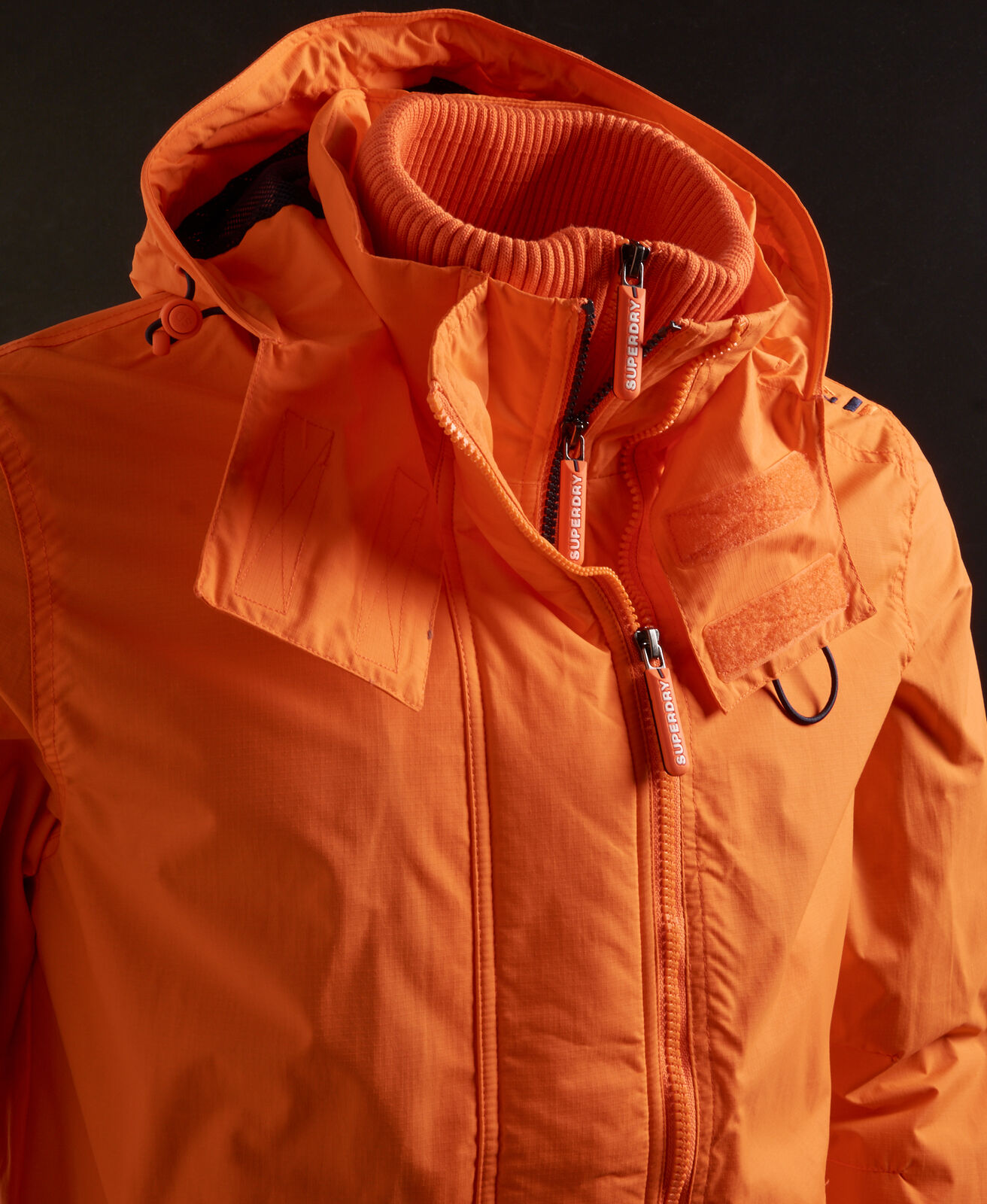 New-Mens-Superdry-Hooded-Technical-Pop-Zip-Sd-Windcheater-Nu-Orange thumbnail 6