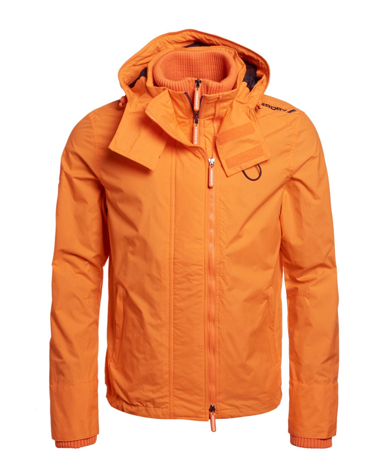 New Mens Superdry Hooded Technical Pop Zip Sd-Windcheater Nu Orange