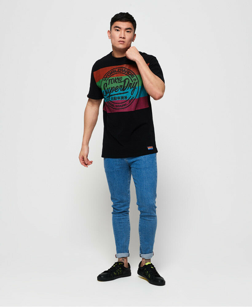 New Mens Superdry Ticket Type Oversized Fit T-Shirt Black