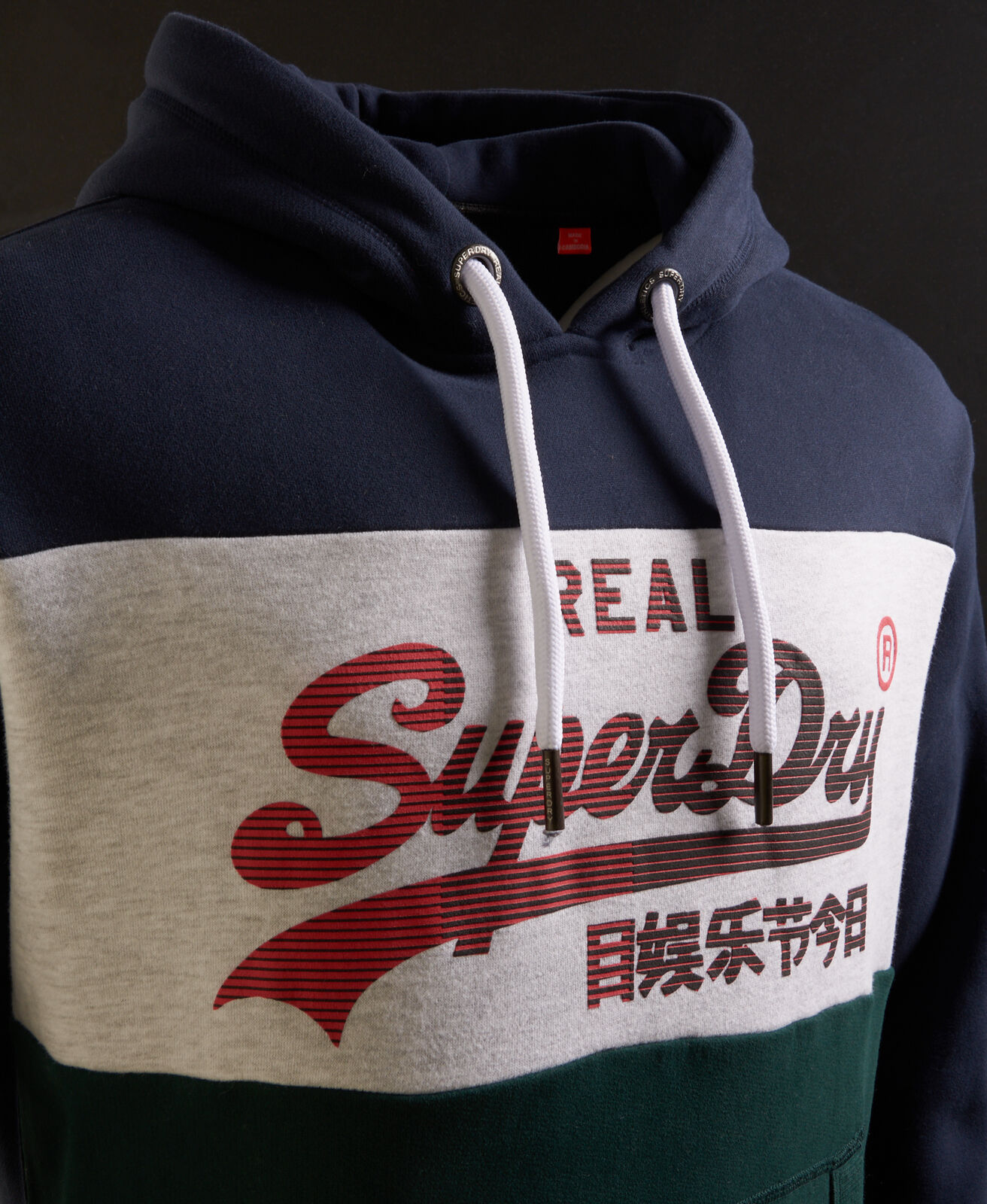 New-Mens-Superdry-Vintage-Logo-1st-Panel-Hoodie-Eclipse-Navy thumbnail 5