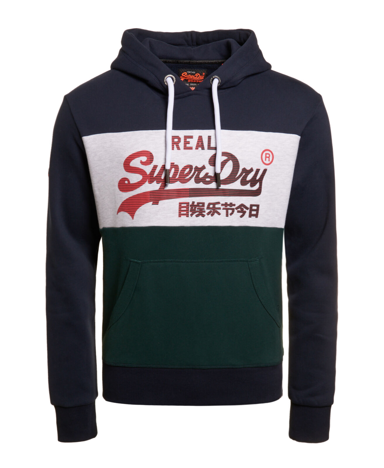 Details about New Mens Superdry Vintage Logo 1st Panel Hoodie Eclipse Navy