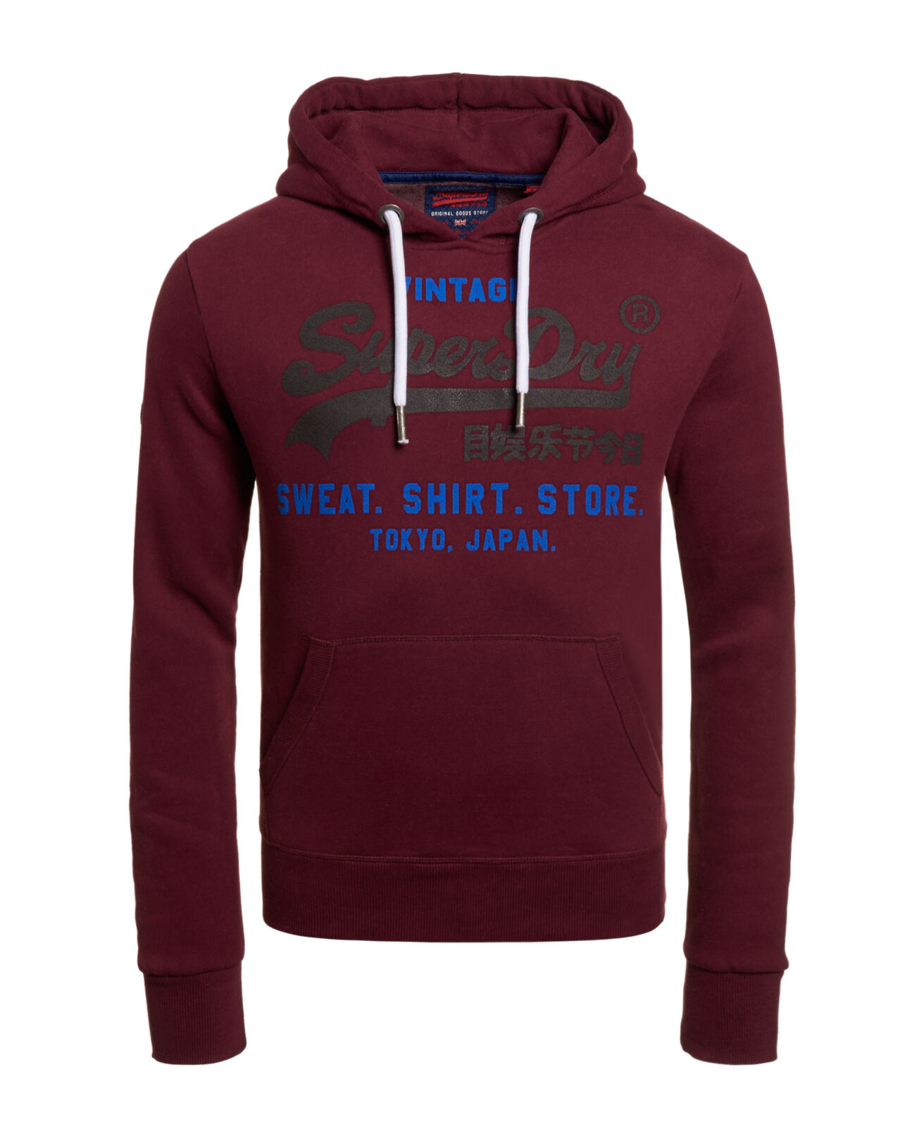 Details about New Mens Superdry Sweat Shirt Shop Duo Hoodie Tin Tab Burgungy