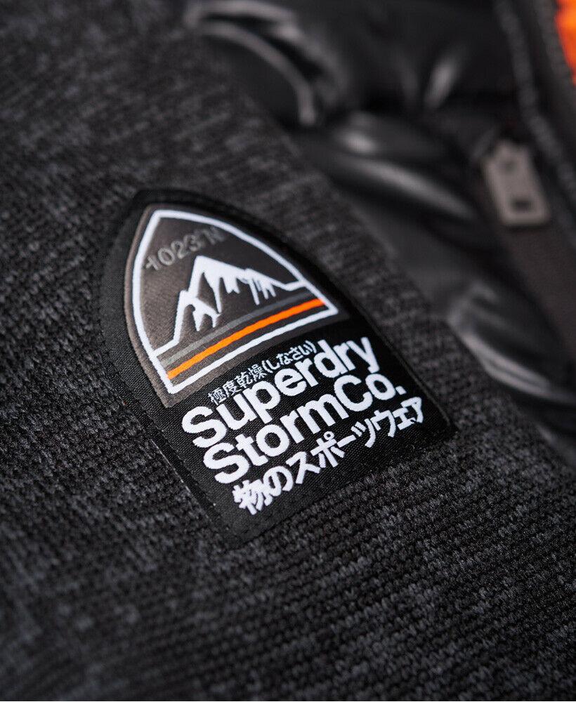 New-Mens-Superdry-Mens-Storm-Hybrid-Zip-Hoodie-Black-Granite-Marl thumbnail 12
