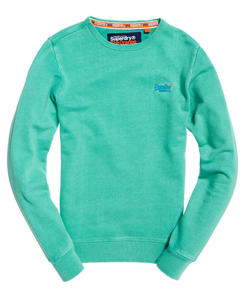 Details about New Mens Superdry Orange Label Pastel Line Crew Sweatshirt Ellwood Aqua Green