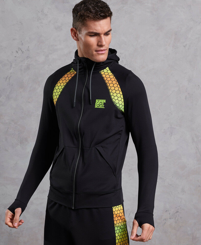 Détails sur Nouvelle Chemise Superdry Training Gradient Sweat à capuche noir afficher le titre d'origine