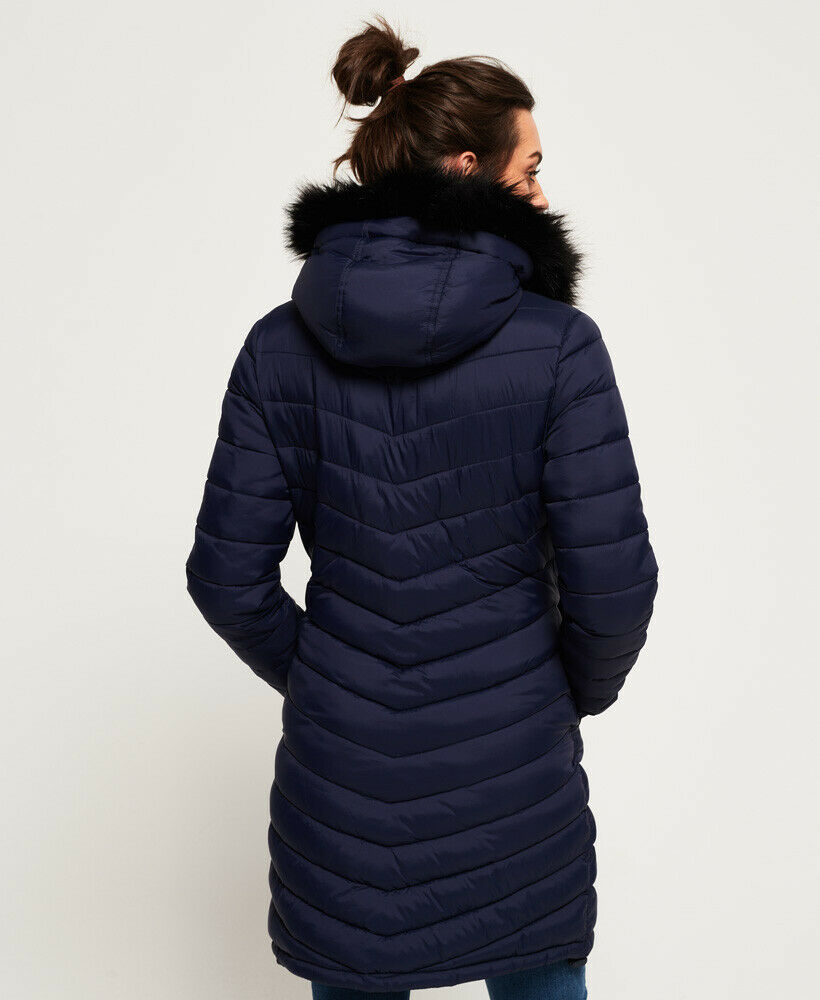 New-Womens-Superdry-Chevron-Faux-Fur-Super-Fuji-Jacket-Navy thumbnail 20