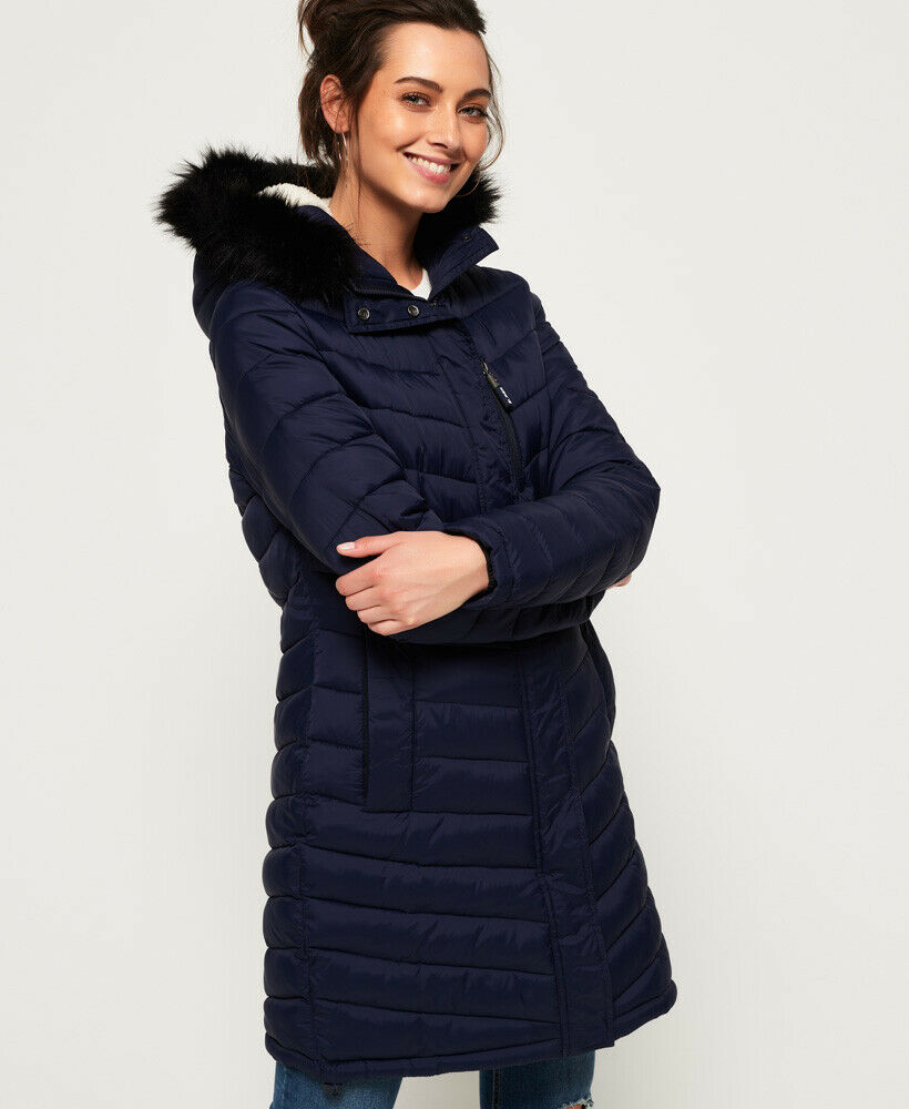 New-Womens-Superdry-Chevron-Faux-Fur-Super-Fuji-Jacket-Navy thumbnail 10