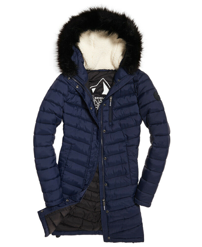 New-Womens-Superdry-Chevron-Faux-Fur-Super-Fuji-Jacket-Navy thumbnail 28