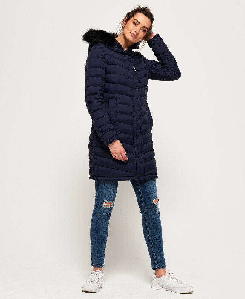 New-Womens-Superdry-Chevron-Faux-Fur-Super-Fuji-Jacket-Navy thumbnail 27