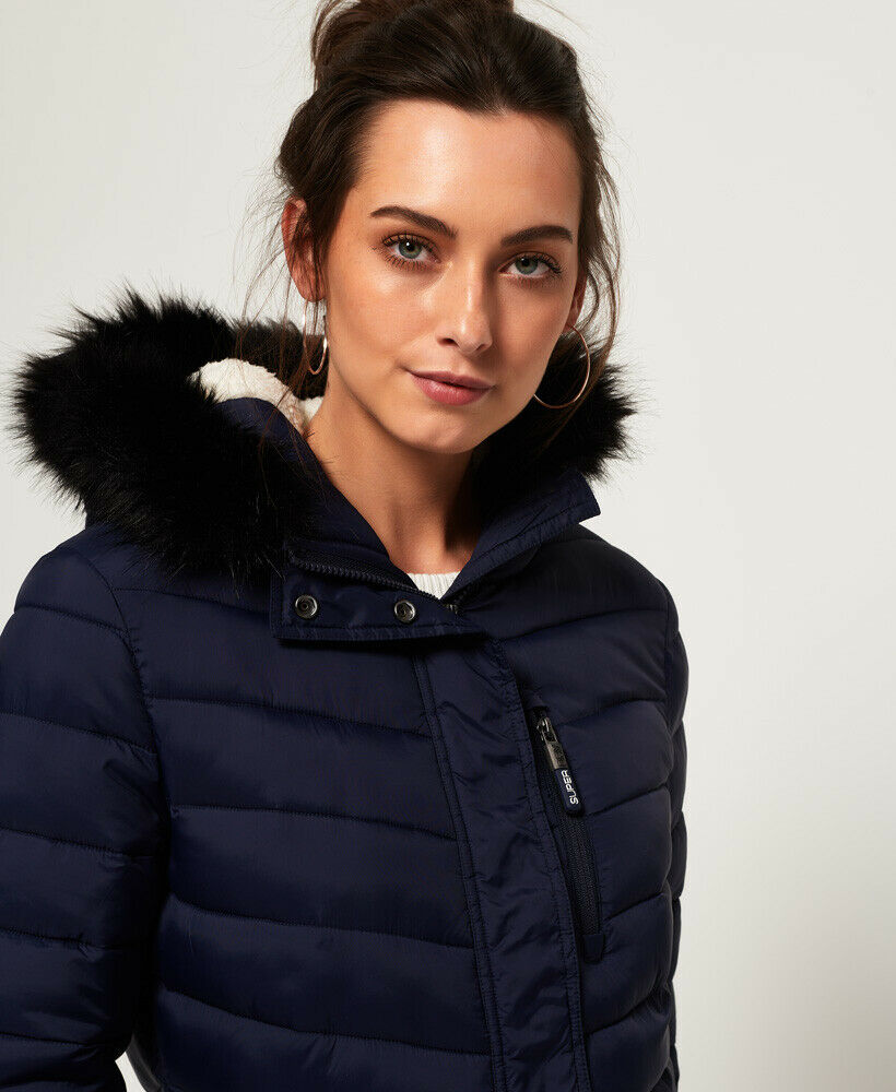 New-Womens-Superdry-Chevron-Faux-Fur-Super-Fuji-Jacket-Navy thumbnail 11
