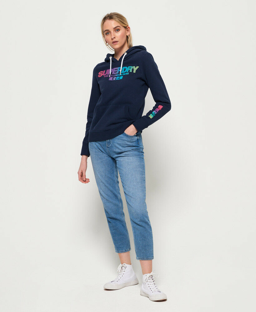 New-Womens-Superdry-City-Nights-Ombre-Puff-Hoodie-Dazzling-Blue thumbnail 15