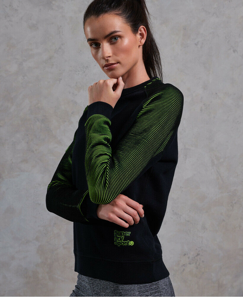 New-Womens-Superdry-Flex-Crew-Sweatshirt-Black thumbnail 18