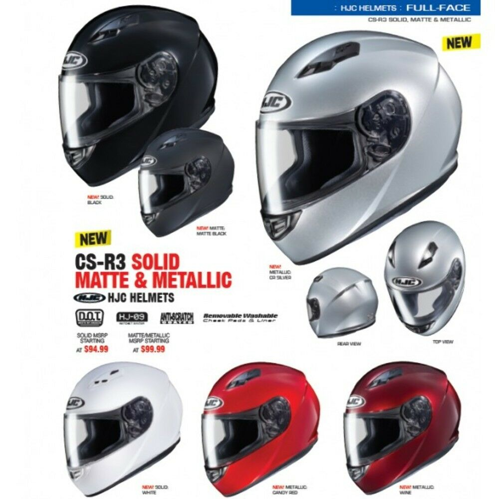 HJC CS-R3 Full-Face Helmet BLACK Adult Sizes XS-2XL