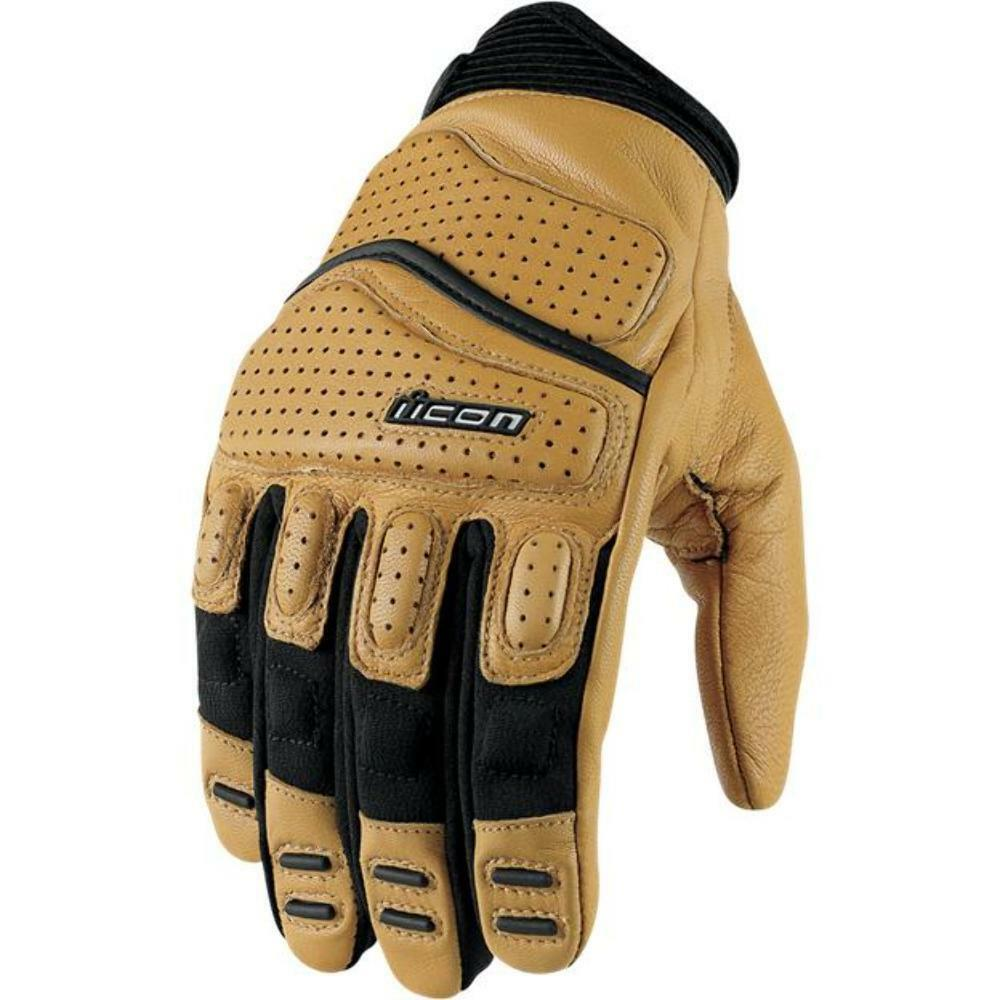 Icon Mens Tan Black Leather Superduty 2 Motorcycle Gloves Ebay