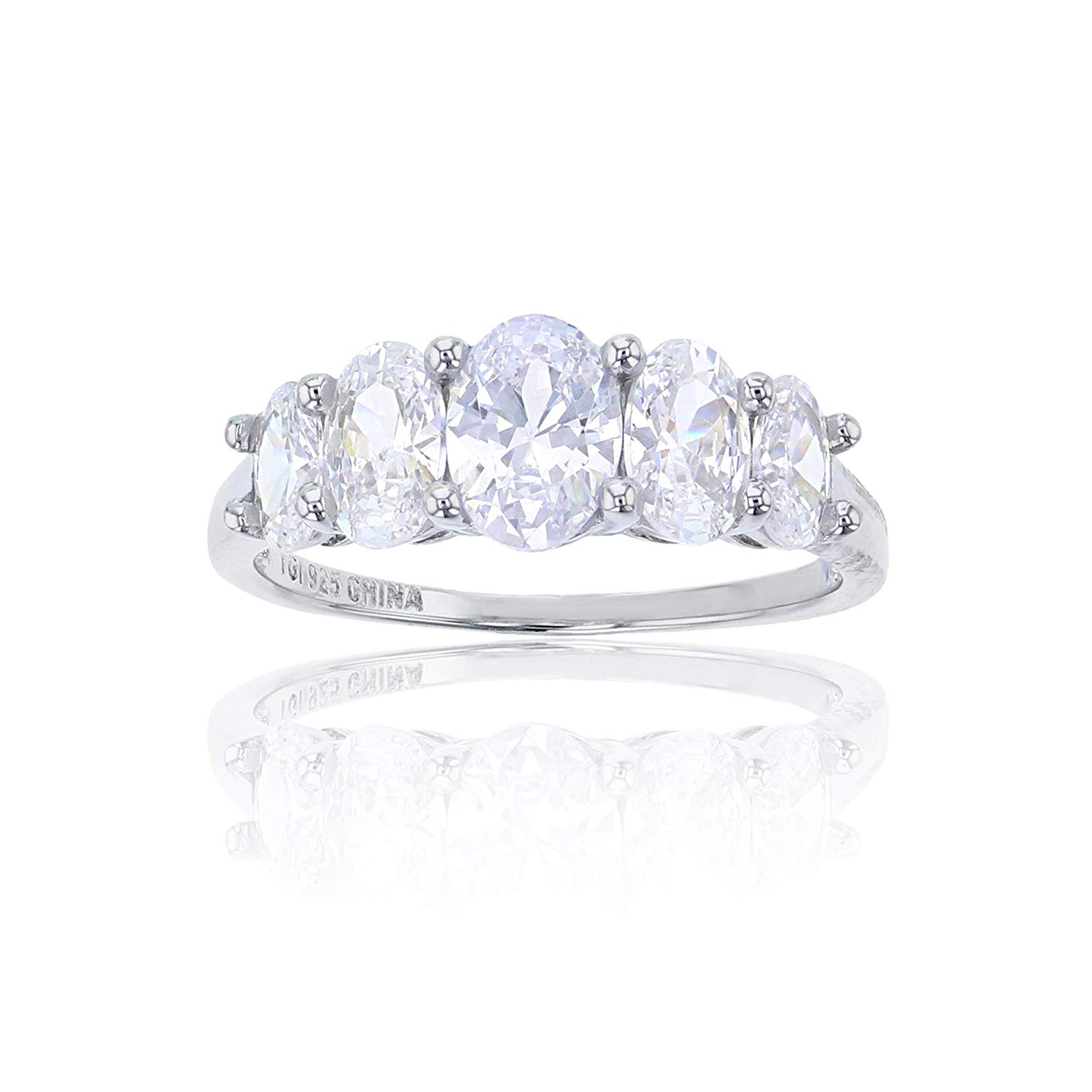 Princess Kylie Clear Cubic Zirconia Sideway Heart Shaped Ring Rhodium Plated Sterling Silver