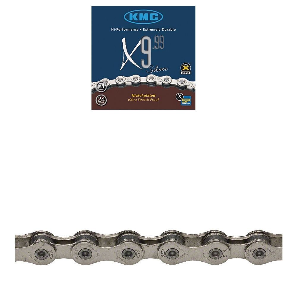"KMC X9L  9-SPEED 1//2/"" X 11//128/""---116 LINKS SILVER MTB-ROAD BICYCLE CHAIN"