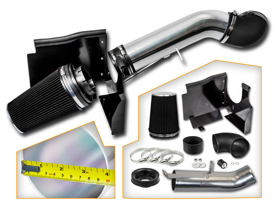 Ford Bronco 5.0L 5.8L V8 Rtunes Racing Short Ram Air Intake Kit Filter Combo BLACK Compatible For 94-96 Ford F-150