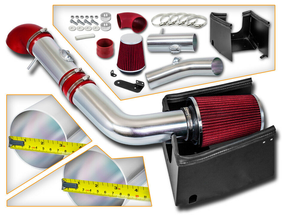 High Performance Parts Heat Shield Cold Air Intake Kit /& Red Filter Combo Compatible for 05 06 07 08 Ford F150 V8 5.4L Heat Shield