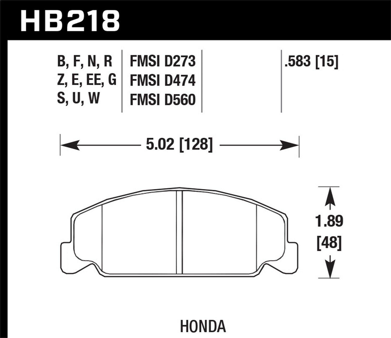 Hawk Performance HB218G.583 HAWK DTC-60 Brake Pad Sets